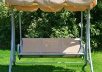 Outsunny Covered Outdoor Patio Swing Bench with Frame
