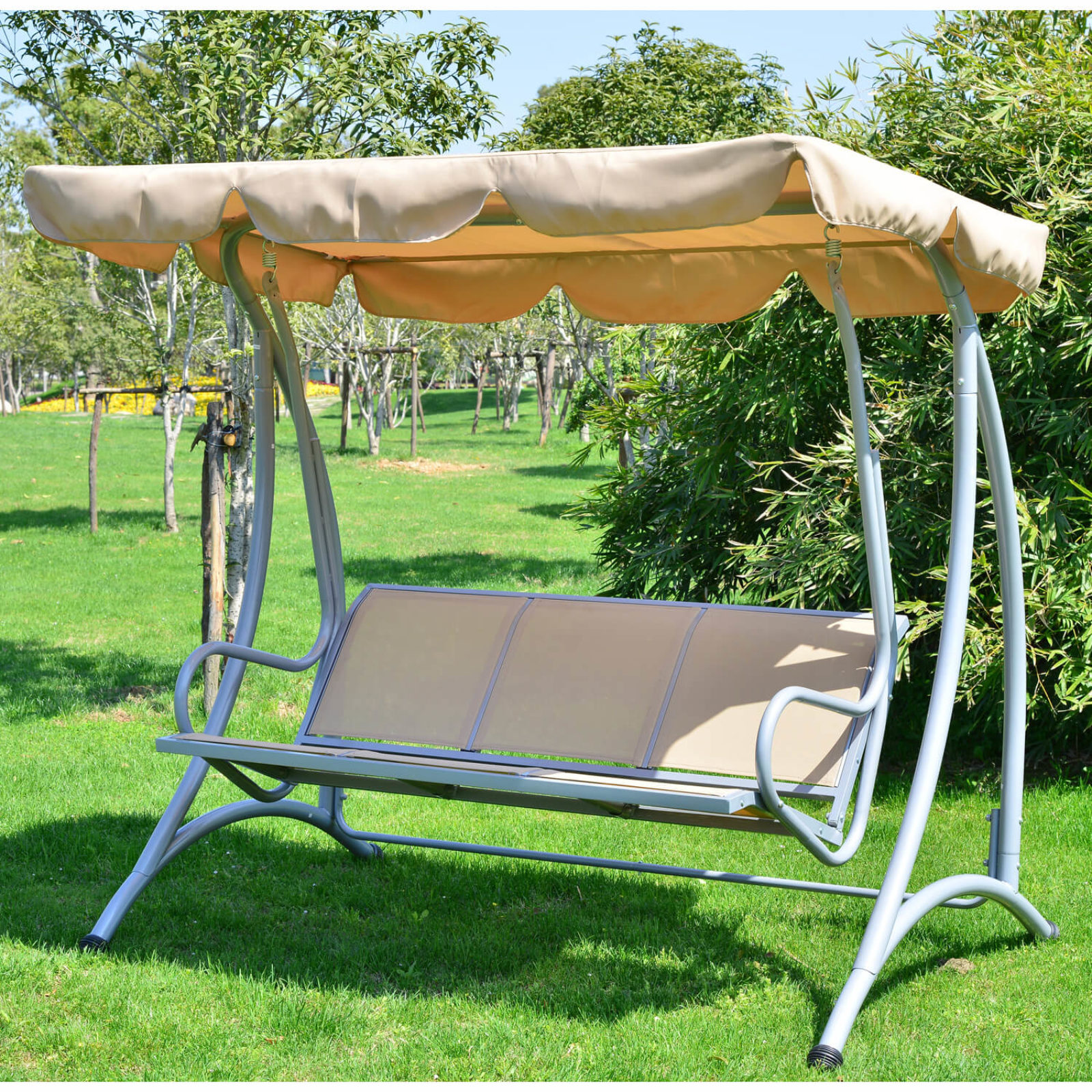 swing frame swinging with beds bed outsunny covered porch outdoor bunk daybed