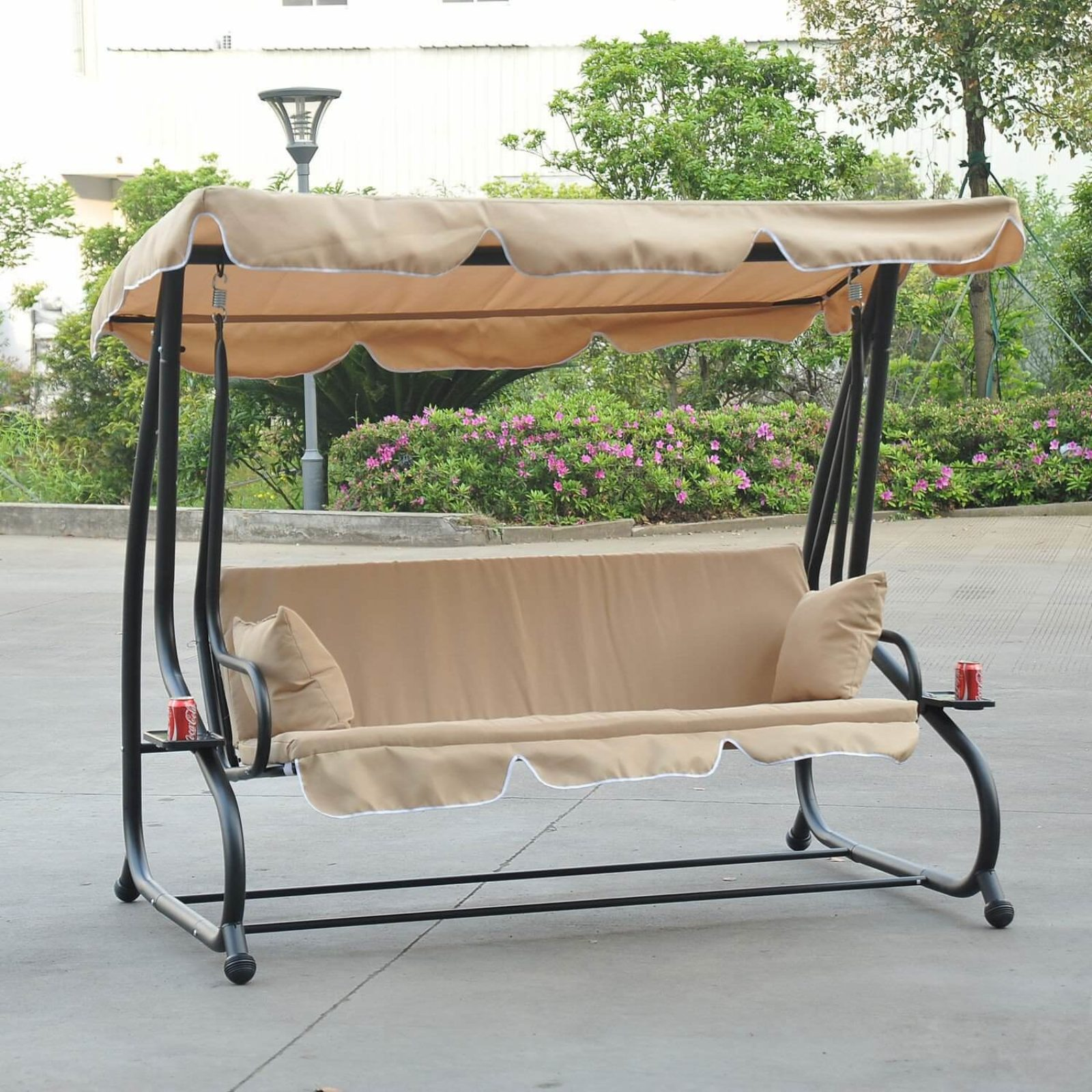 deluxe awning com frame canopy outdoor porch with and swings joveco chair bed bench swing